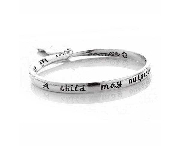 Mother & Child Love Message Sculpture Charm Bangle