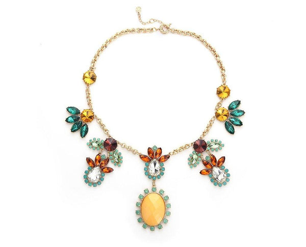 Symmetrical Floral Enthuse Multi-colored stone Necklace