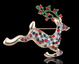 Multicolored Christmas Reindeer Brooch