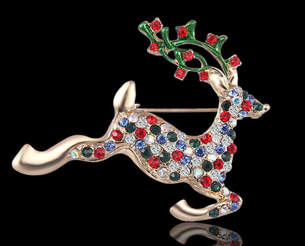 Multicolored Crystal Studded Christmas Stag brooch