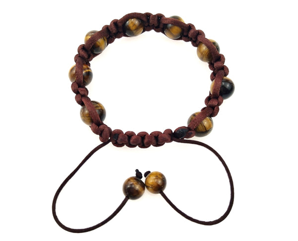 Adjustable contrasting Size Brown Beaded Bracelet