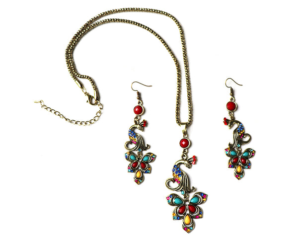 Peacock Rhinestone Earring and Necklace Set