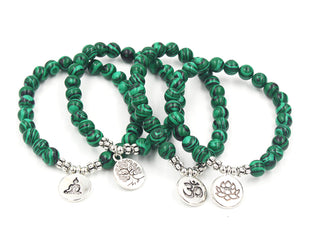Inscribed Malachite Beaded Bracelet