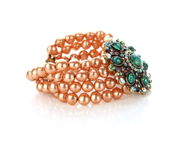 Pistachio and Saffron Multi-layered Vintage Bracelet Sales