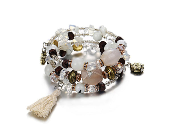 Multi Stone and Charm Tri-layered Bracelet