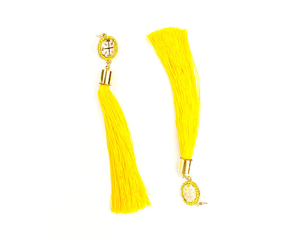 Crystal Stud And Tassel Hanging Earrings