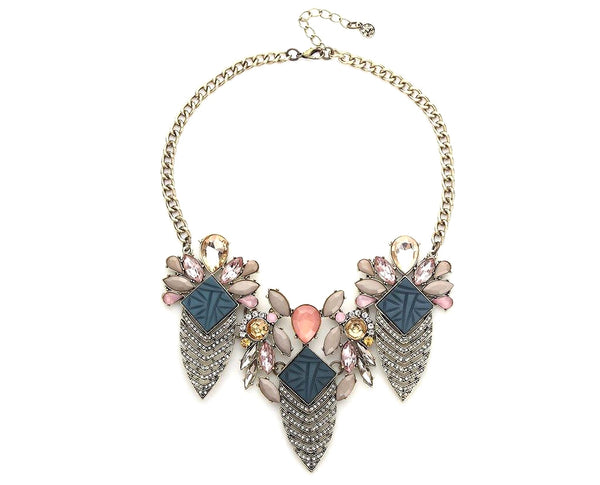 Geo-Inspired Floral mix Azure Rhinestone Necklace