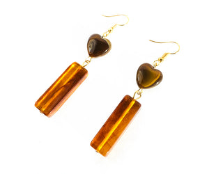 Amber Hearts Desire Drop Earrings