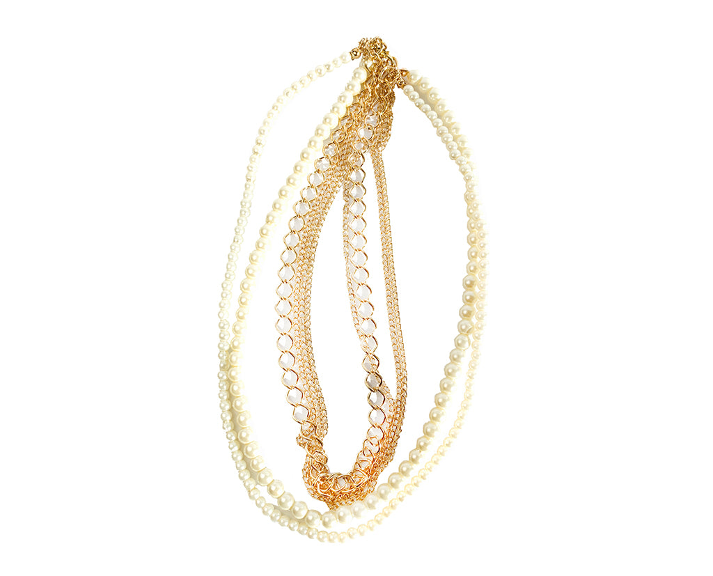 Tri Layered Pearl & Golden String Necklace Sale