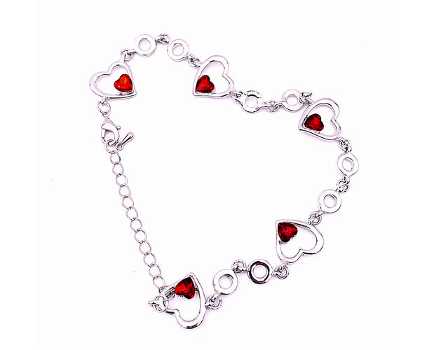Crystal Heart Love you Valentine Special Bracelet With Initial and Birthstone