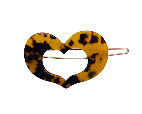 Tortoise Shell Heart Shaped Barrette Sales New