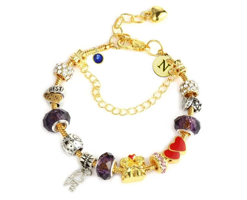 Together Forever Charms Bracelet With Initial and Birthstone