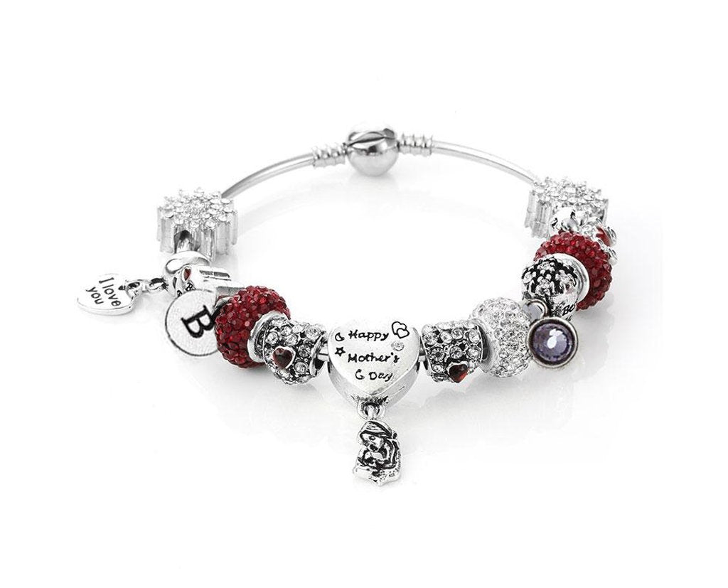 Happy Mothers Day Charm Bracelet With Initial and Birthstone