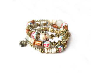 Hand Painted Boho Multi Layer Beaded Bracelet