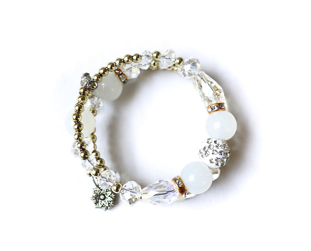 White Iridescent Multi Layer Beaded Bracelet