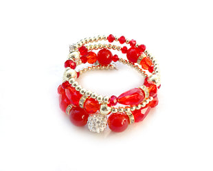 Fiery Red Boho Multi Layer Beaded Bracelet
