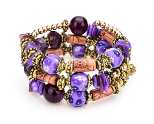 Hand Painted Aubergine Boho Multi Layer Beaded Bracelet