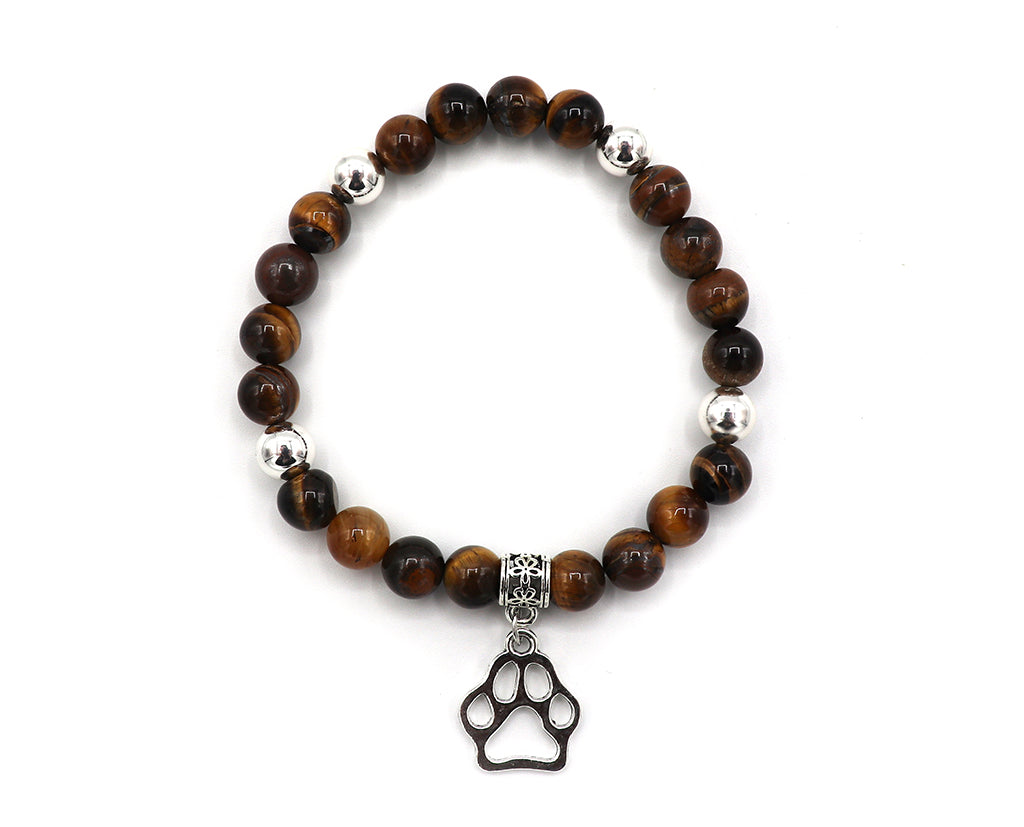 Tiger Eye Beads and Hanging Paw Bracelet