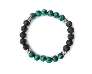 Appealing Malachite and Lava Bead Bracelet