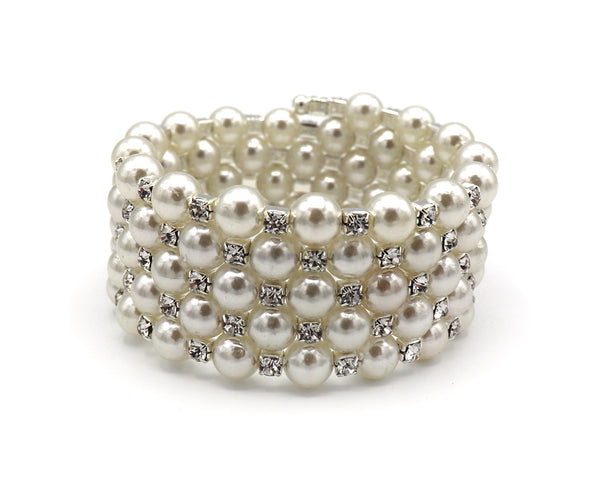 Pearl and Rhinestone Layered Bracelet