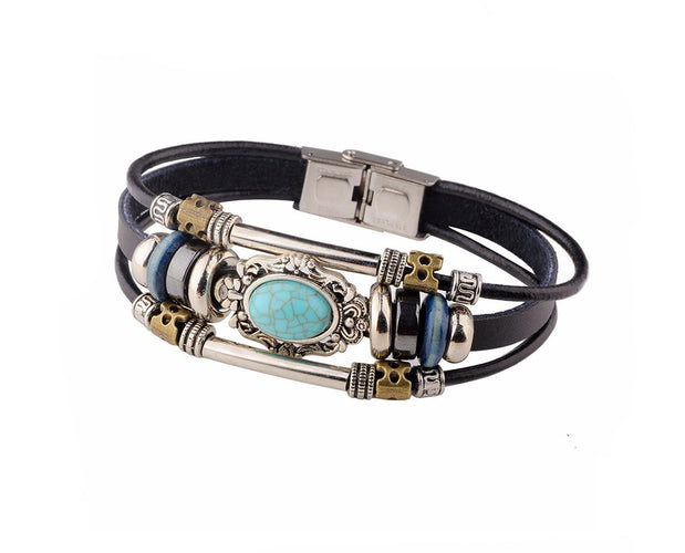 Terrific Tri Layered Leather and Bead Bracelet
