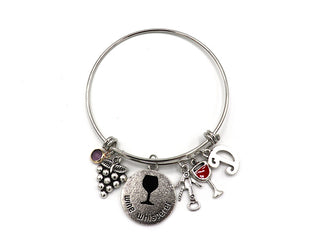 Wine Whisperer Bangle Charm Bracelet