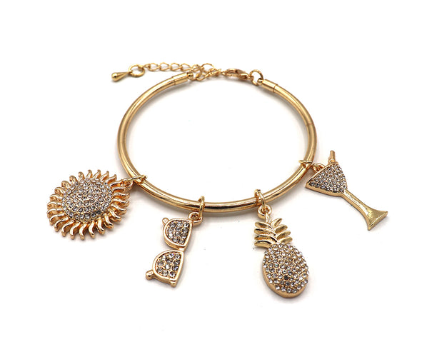 Drinks On The Beach Bangle Charm Bracelet