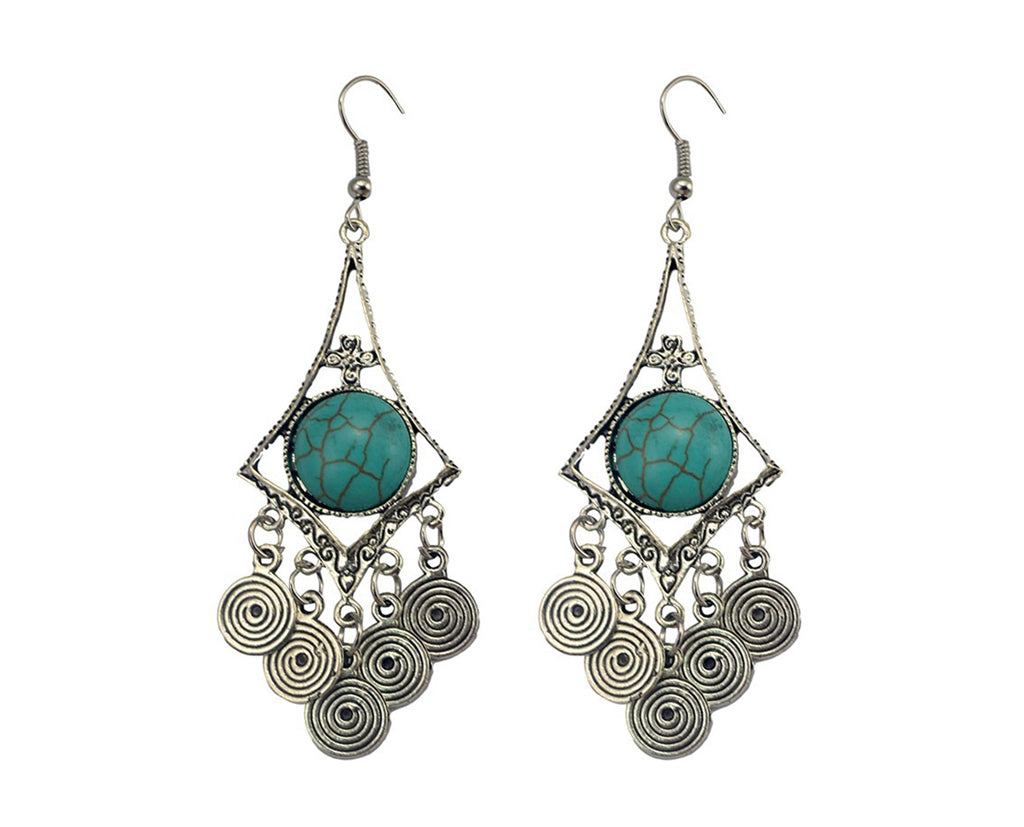 Turquoise And Silver Charm Earrings