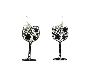 Black Silhouette Wineglass Earrings Sales