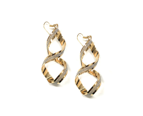 Dual Textured Figure Eight Hanging Earrings
