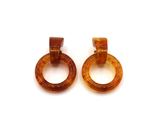 Amber Delight Hoop Stud Earrings