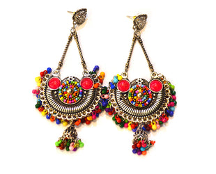 Kaleidoscopic Antique Silver Tribal Danglers