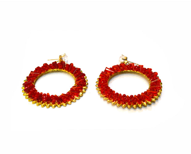 Crimson Beaded Earrings