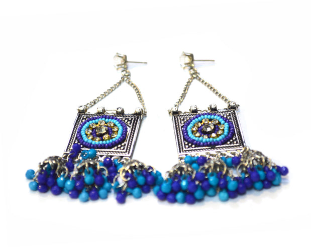 Silver 'n Blues Ethnic Earrings