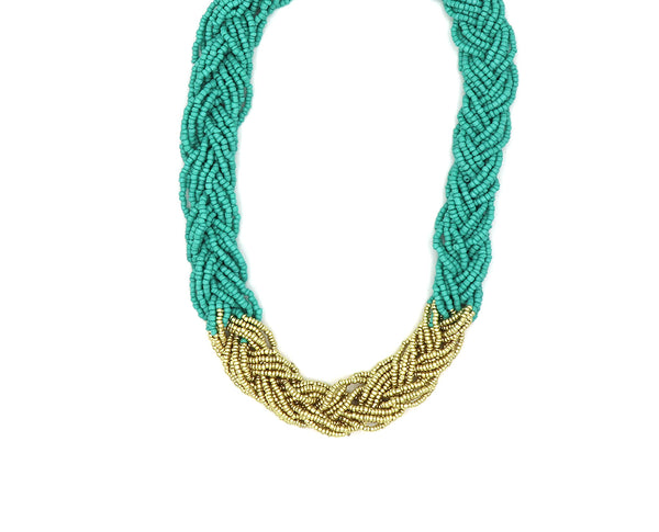 Aqua and Gold Braided Necklace