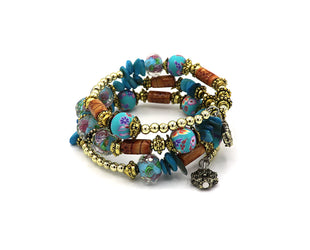Blue Boho Multi Layer Beaded Bracelet