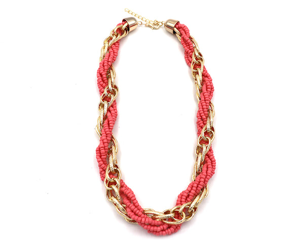 Braided Beads Linked Necklace
