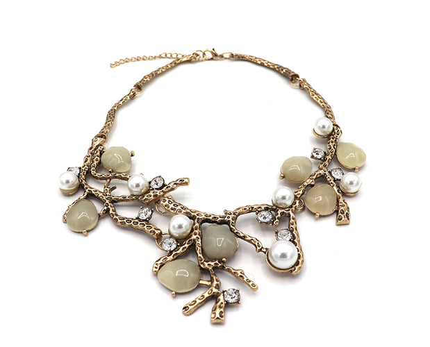 Gold Tree Branch Pearl Droplets Statement Necklace