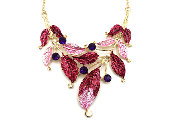 Heavenly Lavender Fall Leaves Necklace