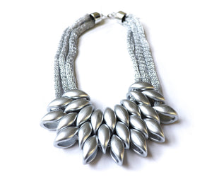 Silky Silver Statement Necklace