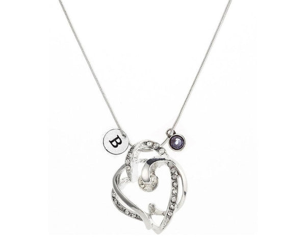 Rhinestone Drop Heart Necklace with Initial and Birthstone