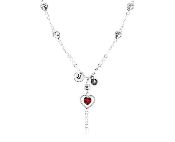 Red Double Heart Necklace With Initial and Birthstone
