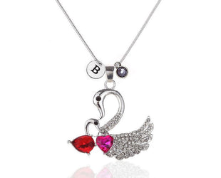 Mother Swan and Baby Pendant Necklace With Initial and Birthstone
