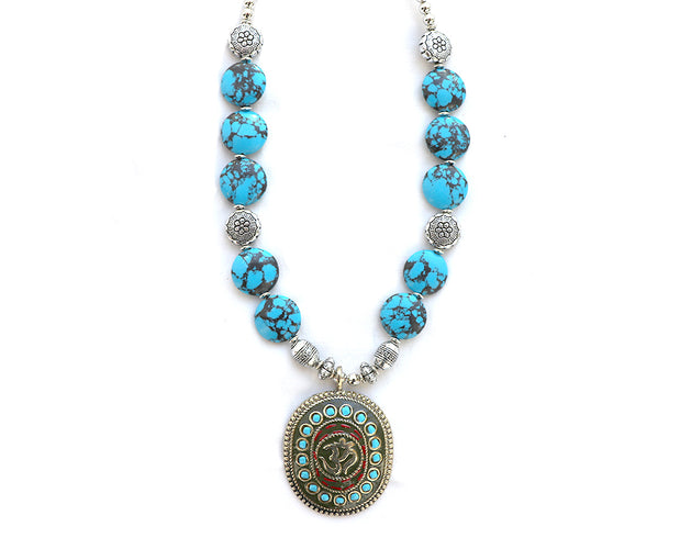 Om Turquoise Bead Necklace