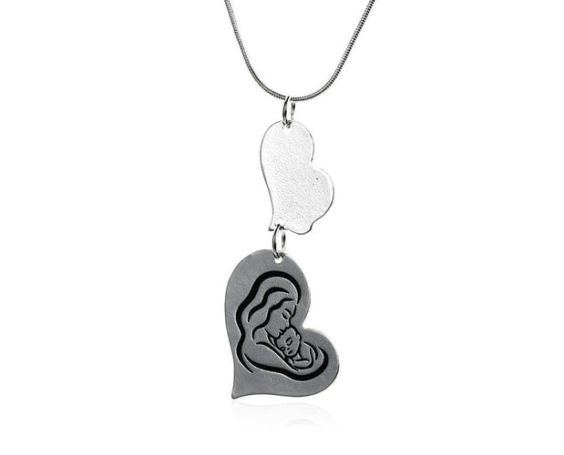 Mother Heart Engraved Necklace