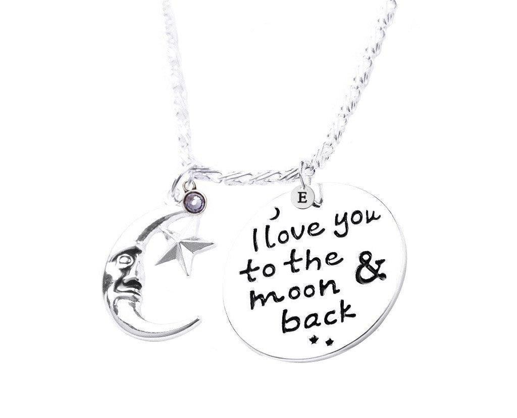 b59d00cfce I LOVE YOU TO MOON & BACK ANGEL NECKLACE With Initial and Birthstone ...