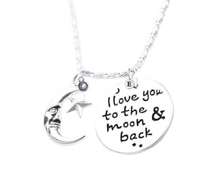 I LOVE YOU TO MOON & BACK ANGEL NECKLACE With Initial and Birthstone