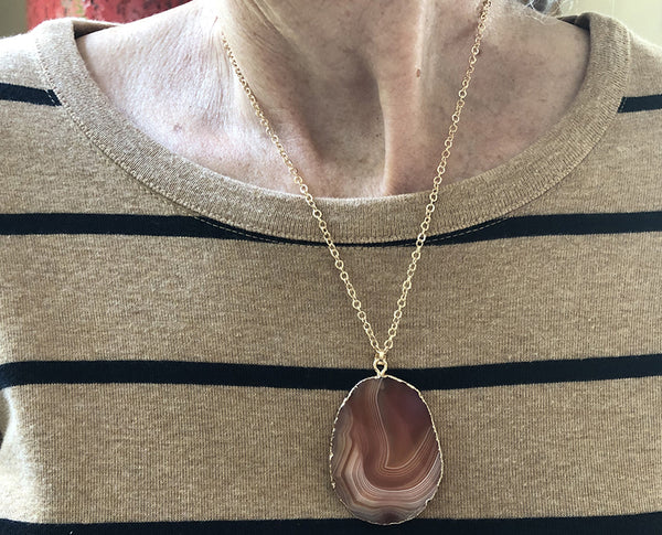 Stunning Unique Rock Pendant Necklace with Chain