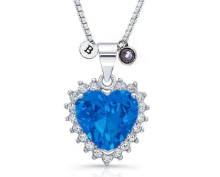 Heart-Sapphire Dazzling Valentine-Special Pendant With Initial and Birthstone
