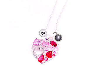 Heart 'n Heart Pendant With Initial and Birthstone